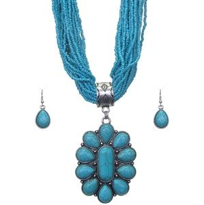 Turquoise beaded jewelry set